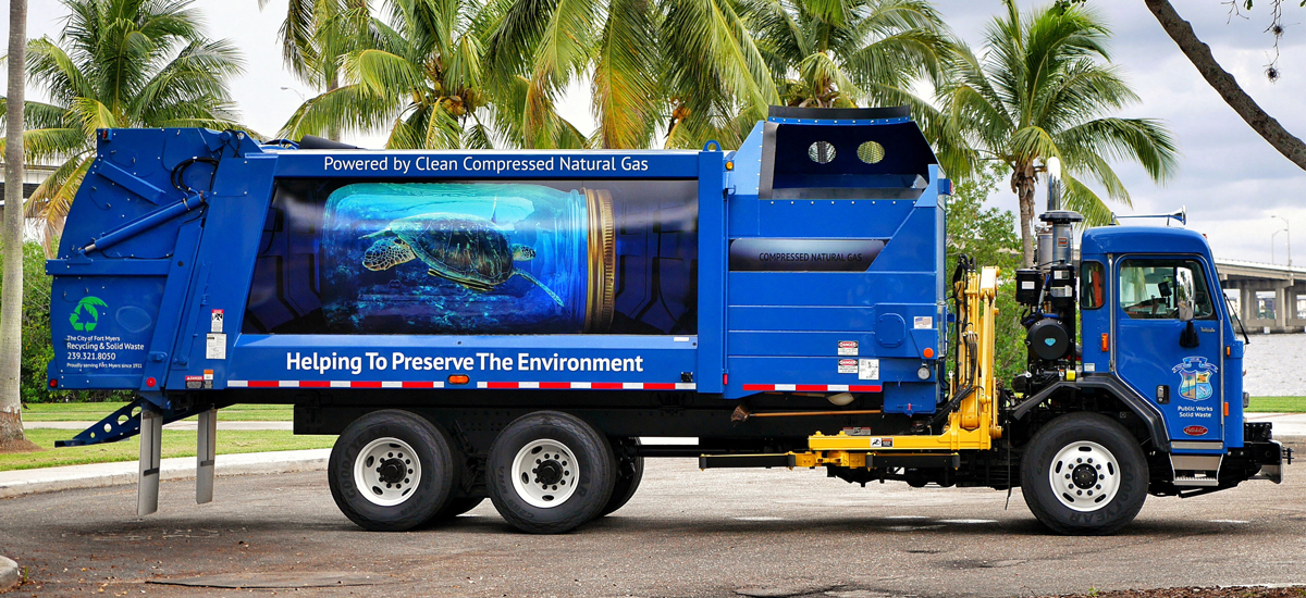 Fort Myers Garbage Truck Wrap Example 1