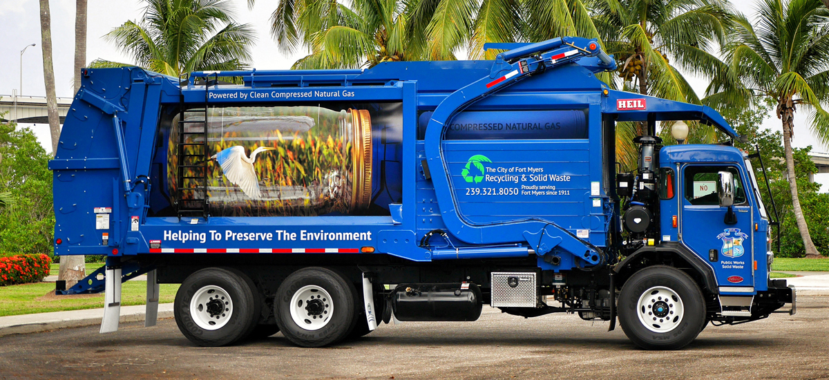 Fort Myers Garbage Truck Wrap Example 2