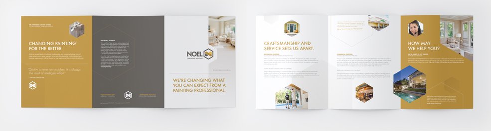 Noel Painting Rebrand Marketing Kit Brochure Spread