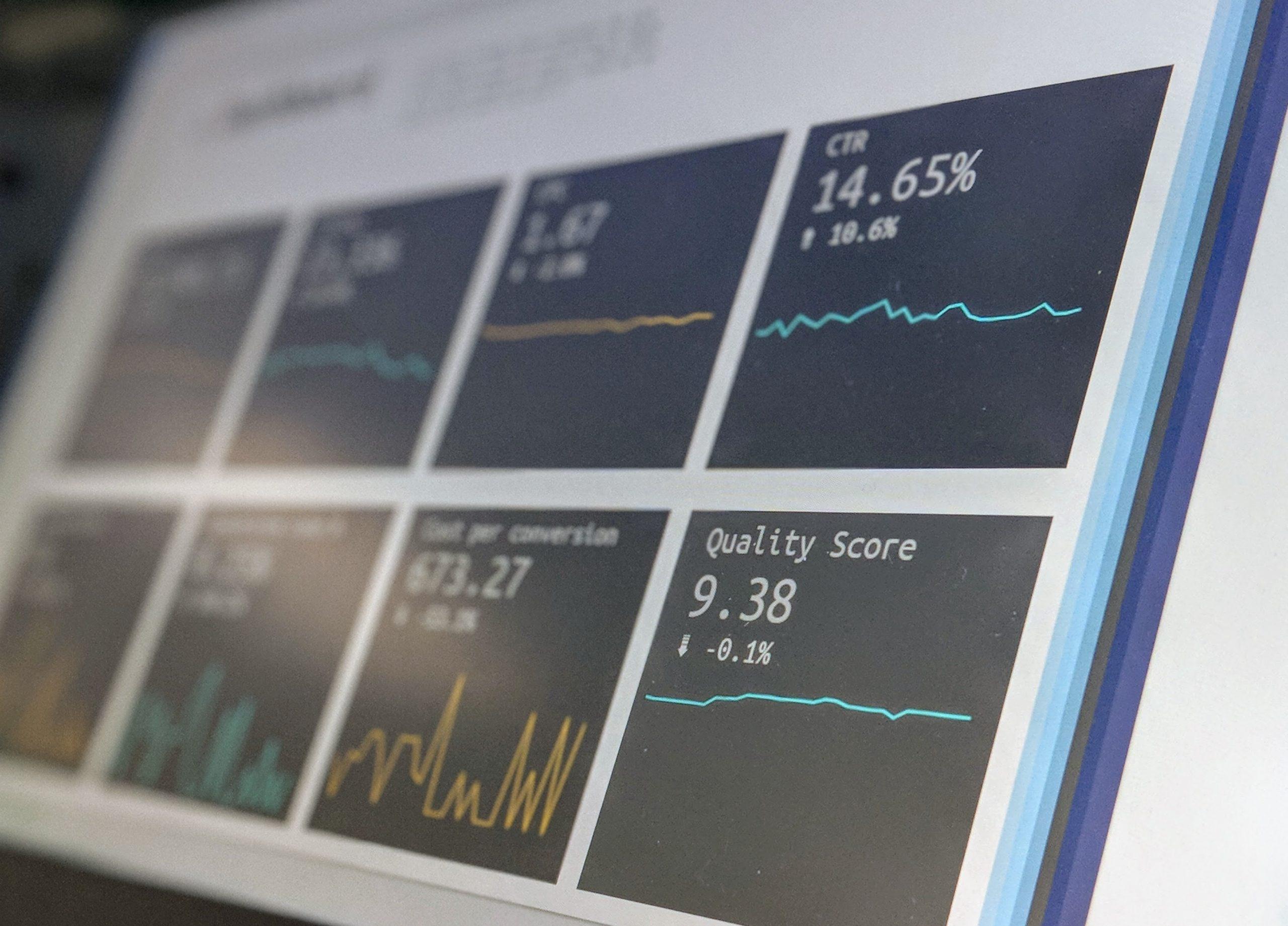 Website performance data displayed on computer